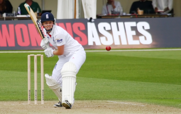 Heather Knight in action aT Wormsley during the 2013 Ashes (Image courtesy of Don Miles)